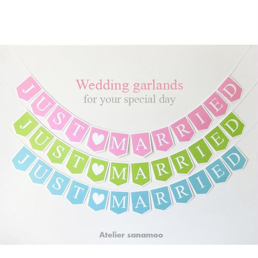 JUST MARRIEDガーランド(パステルカラー):ピンク、グリーン、ブルーからお選びいただけます。