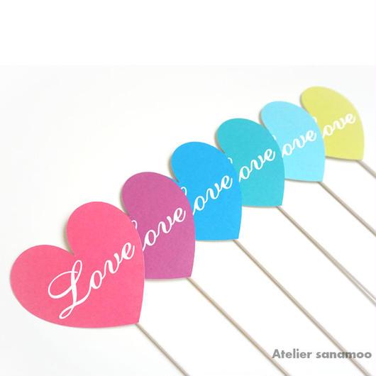 【6本セット】<ビビッド/サマー>ハート型「Love」フォトプロップス(手のひらサイズ)