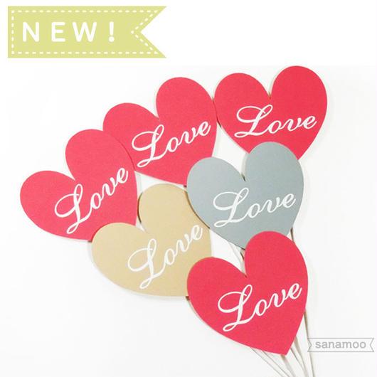 【6本セット】<バレンタインミックス>ハート型「Love」フォトプロップス(手のひらサイズ):和婚にもおすすめです。