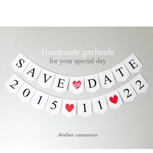 <2本セット>SAVE the DATE&お日付ガーランド(シンプル黒文字)