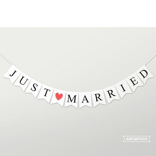 ウェディングバナー:JUST MARRIED(シンプル:白地、アイボリーの2色からご選択いただけます)