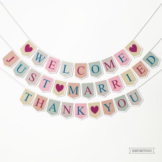 <3本セット>ウェディング用ガーランド(スモーキーカラー):JUST MARRIED, WELCOME, THANK YOU
