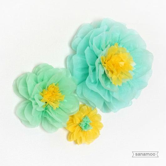 <3個セット>お花のペーパーポンポン(ブルー系):大中小セット