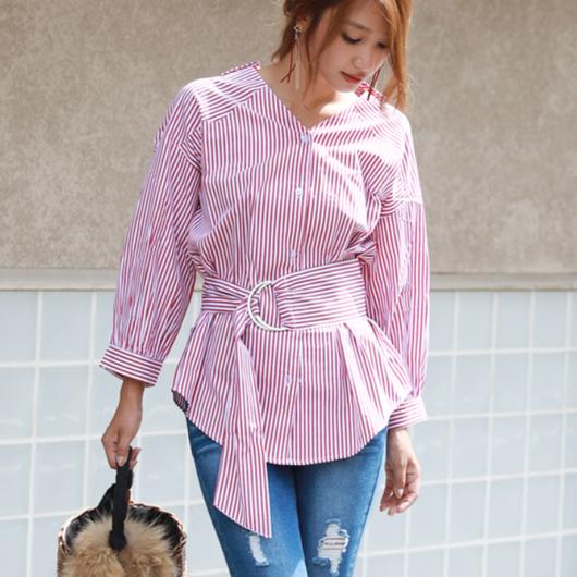 ボム袖ストライプVネックシャツ+ワイドベルトセット