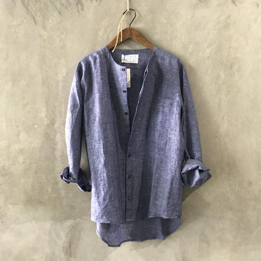 HOUSE OF VERY ISLAND'S… COLLARLESS SHIRT INDIGO BLUE / AZURE BLUE