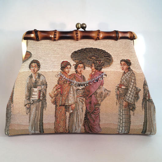 "FRANCE / Gobelin ""JAPONICA"" Bamboo Clutch Bag"