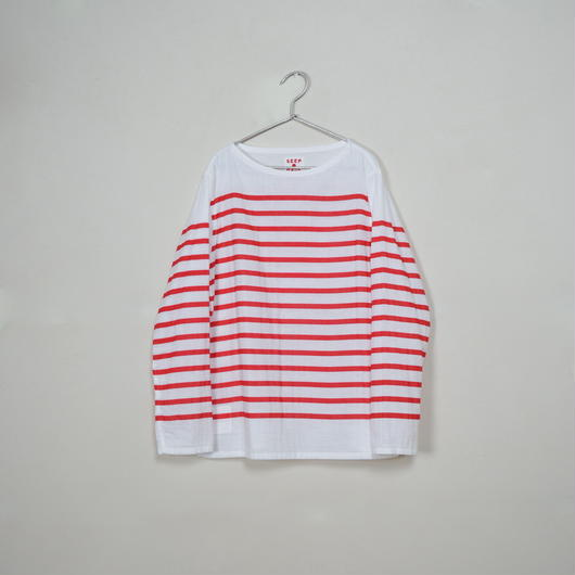 Men's  Gauze Border B-Neck Sht.  /  White × Red
