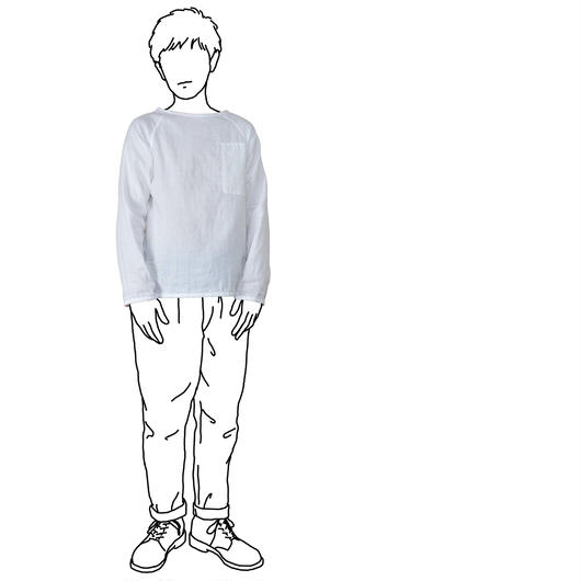 Men's Gauze Raglan B-Neck Sht. / White