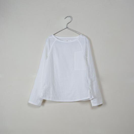 Lady's Gauze Raglan Long Sleeve B-Neck Sht. / White