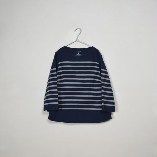 Lady's  Gauze Border  B-Neck Sht.  /  Navy × Ivory