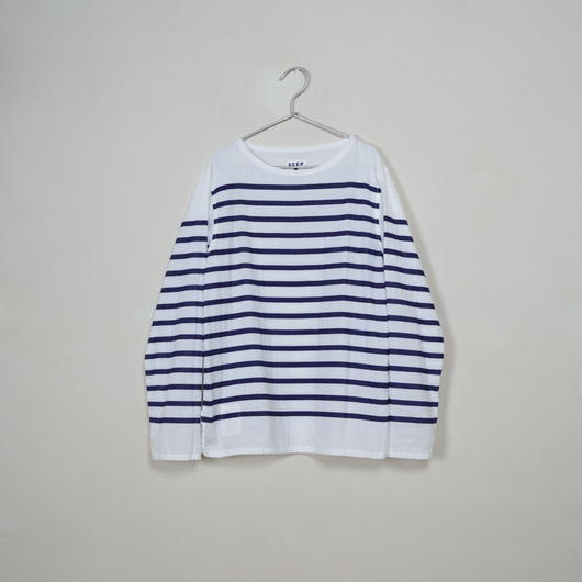 Men's  Gauze Border B-Neck Sht.  /  White × Navy