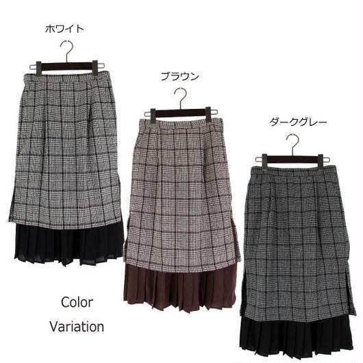 ご予約★ビッググレンチェックプリーツレイヤードタイトスカート
