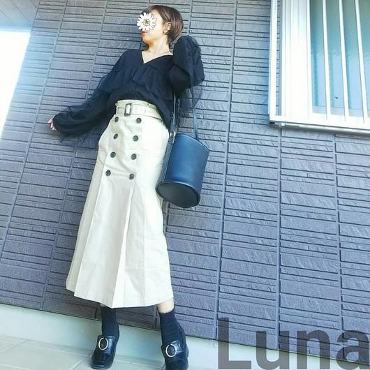 ベルト付きタックトレンチ風ロングスカート