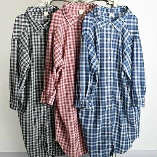 再入荷★オーバーサイズチェック柄ロングシャツ