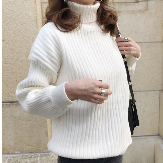 rib turtle knit