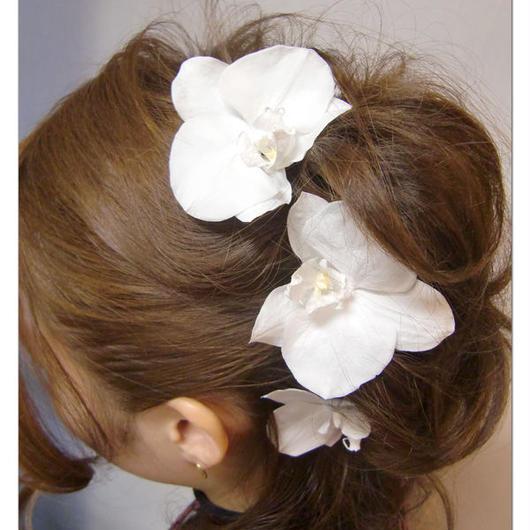 【プリザーブドフラワー/ヘアアクセサリーシリーズ/本当の胡蝶蘭の髪飾り】特別なあなたのために。幸せを運ぶ白い胡蝶蘭の魔法の枯れないお花の髪飾り