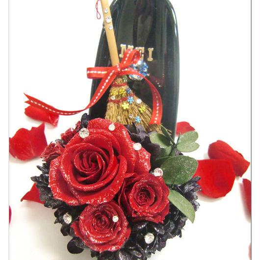 【プリザーブドフラワー/ガラスの靴シリーズ】魔女の赤い薔薇の輝きと魔法のほうき【数量限定品/リボンラッピング付き】