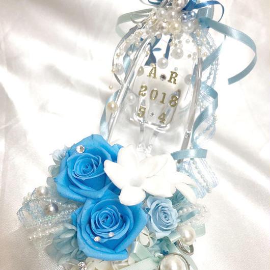 プリザーブドフラワーガラスの靴リングピロー/サムシングブルーとジャスミンの祝福