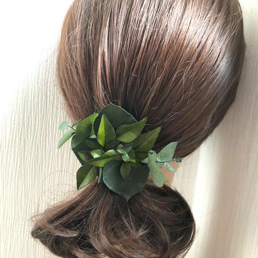 ユーカリと姫南天グリーンのボタニカルヘアクリップ髪飾り/プリザーブドフラワー/コサージュ使用可