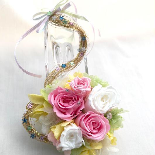 【プリザーブドフラワー/ガラスの靴ミニシリーズ】ラプンツェルの金色の髪の魔法のミニサイズのガラスの靴