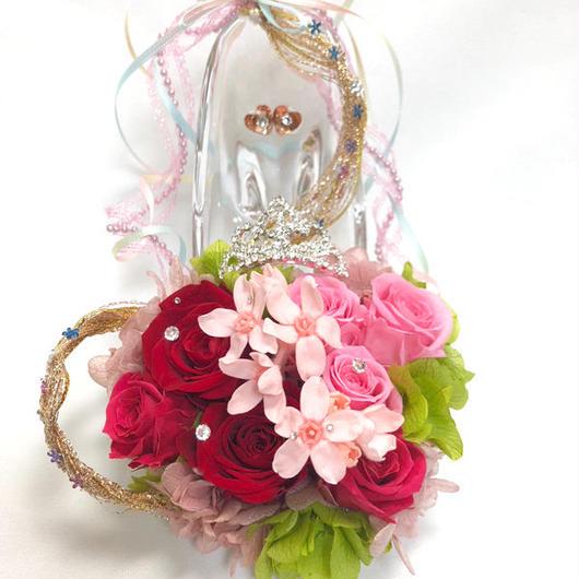 【プリザーブドフラワー/ガラスの靴シリーズ】プリンセスのティアラと金色の髪の魔法とプリンセスの自由と幸せと愛