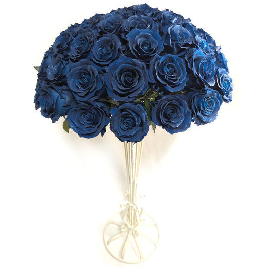 青い薔薇50本の花束アレンジ/枯れない薔薇プリザーブドフラワー