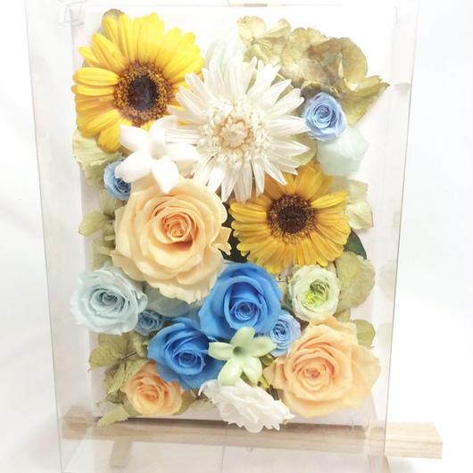 【プリザーブドフラワー/ガーベラと薔薇に爽やかさと希望、優しさをのせて/キャンバスアレンジ】