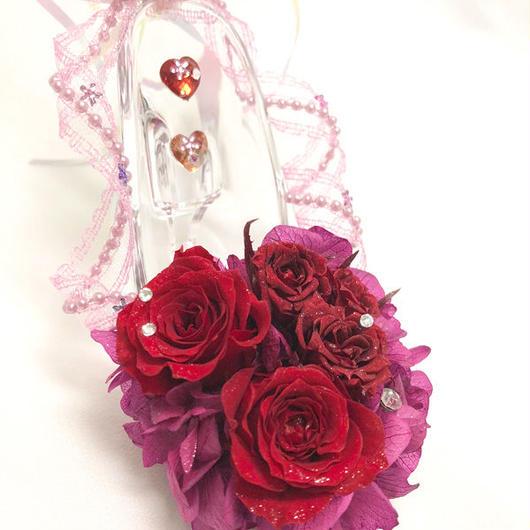 【プリザーブドフラワー/ガラスの靴ミニシリーズ】情熱の赤い薔薇のミニサイズのガラスの靴