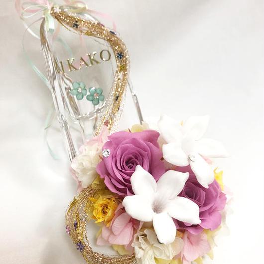 【プリザーブドフラワー/ガラスの靴シリーズ】プリンセスのの金色の髪の魔法