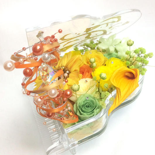 【プリザーブドフラワー/グランドピアノシリーズ】明るく陽気なお花たちのメロディーに優しさをのせて