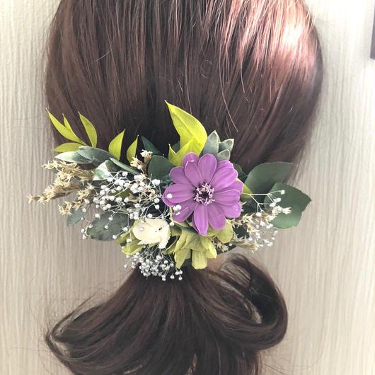 グリーンとパープルジニアと小花のボタニカルヘアアクセサリー/プリザーブドフラワーコサージュ使用可