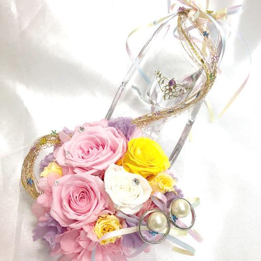 【プリザーブドフラワー/ガラスの靴リングピロー/ウェディング】プリンセスの金色の髪と魔法