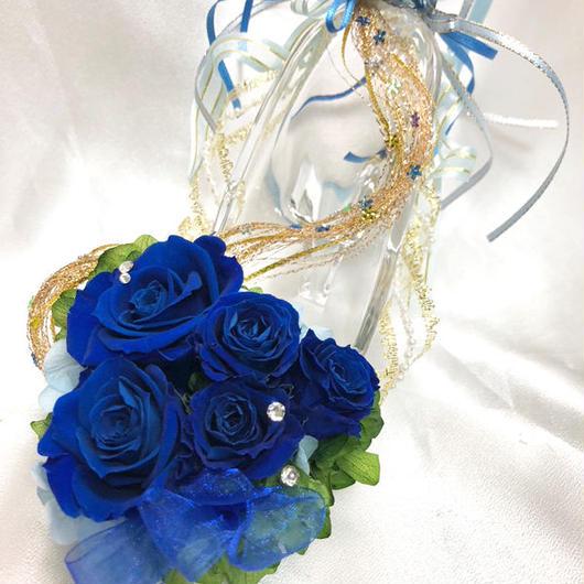 【プリザーブドフラワー/青い薔薇の夜空に染まったガラスの靴】【リボンラッピング付き】