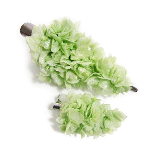 【プリザーブドフラワー/ヘアアクセサリーシリーズ2点セット/本当の紫陽花の髪飾り】ときめきを抑えて、ちょっとクールに。淡いミントグリーンの髪飾り【 ラッピング付き】