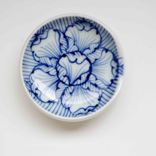 有田焼の豆皿 藍の花