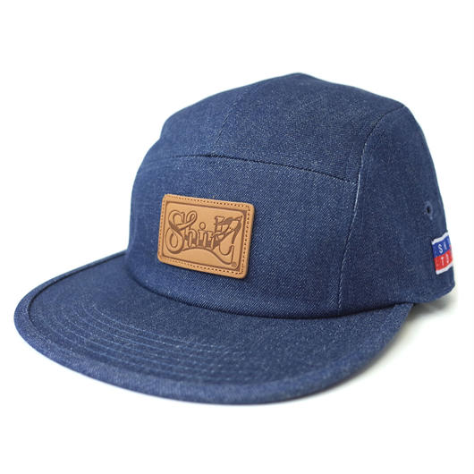 LEATHER PATCH INDIGO DENIM COMFORT-5 CAP (INDIGO BLUE DENIM) made in japan (SH170103LDM)