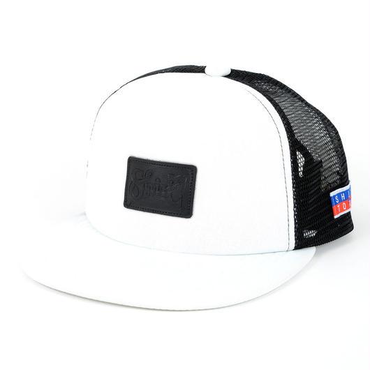 LEATHER PATCH MESH CAP (WHT/WHT/BLK)(SH160302WWB)