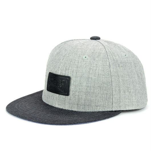 LEATHER PATCH SNAPBACK 6PANEL CAP (MIX-G/D-GREY)BLK LEATHER(SH150202GCB)