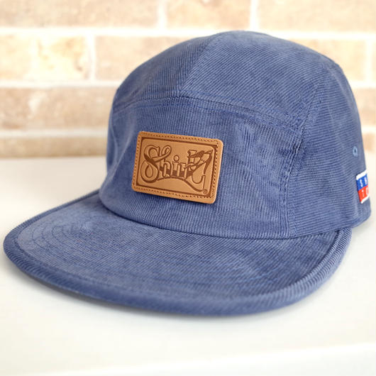 LEATHER PATCH  BLUE CORDUROY 5PANEL  (SMOKE BLUE) made in japan (SH18HO01BLU)