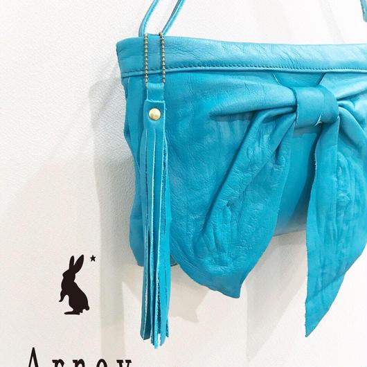 【新色】3wayリボンクラッチバックーturquoise blueー