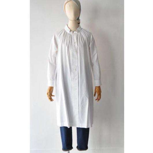 18-AW005C COTTON TRIPLE WASH  GATHERS BLOUSE  DRESS