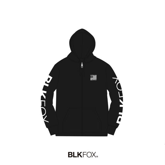 【受注販売】BLKFOX ZIP UP HOODIES 02 / BLACK x WHITE