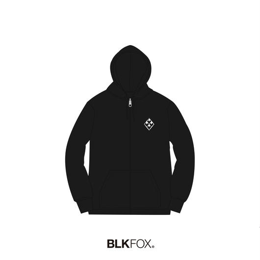 【受注販売】BLKFOX ZIP UP HOODIES 01 / BLACK x WHITE