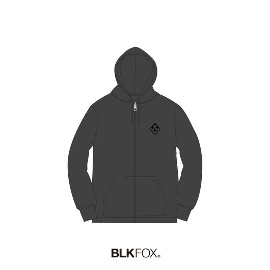 【受注販売】BLKFOX ZIP UP HOODIES 01 / GRAY x BLACK