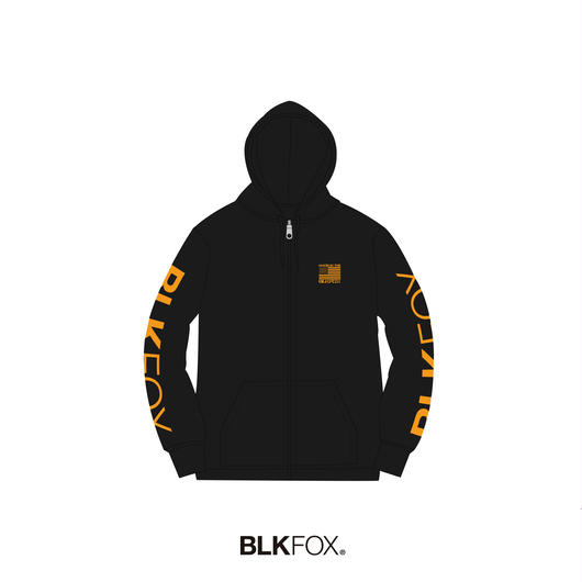 【受注販売】BLKFOX ZIP UP HOODIES 02 / BLACK x ORANGE