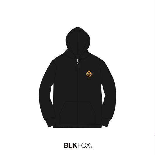 【受注販売】BLKFOX ZIP UP HOODIES 01 / BLACK x ORANGE