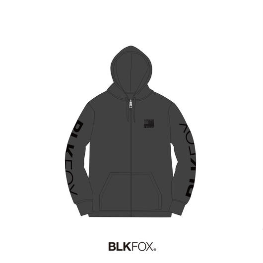 【受注販売】BLKFOX ZIP UP HOODIES 02 / GRAY x BLACK