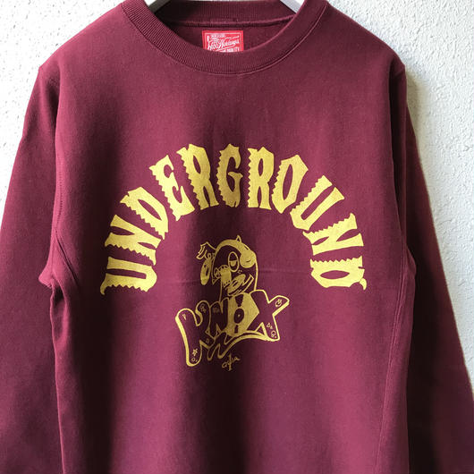 5656WORKINGS/UNDERGROUND KNOX SWEAT_BURGUNDY