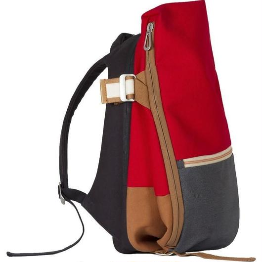 ☆夏セール【28382】Isar Rucksack Multi Touch CARGO CANVAS AND DENIM - Ruby Red and Indigo コートエシエル