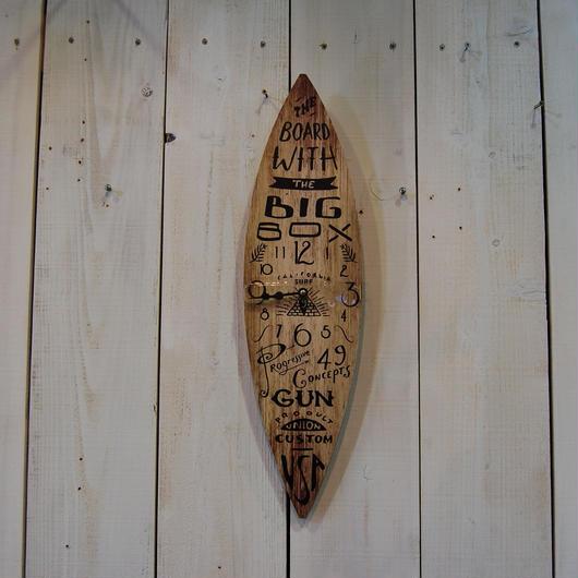 サーフボード クロック 時計 壁掛け時計 ウッド